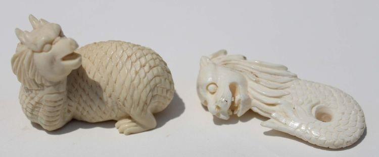 """21: 2 Chinese carved ivory mythological beasts - 2"""" lon"""