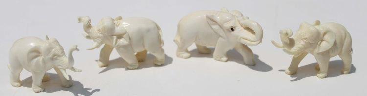 "23: 4 Chinese carved ivory elephants 1 1/2"" - 2"" long"