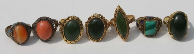 94: 8 Chinese costume jewelry rings incl some w cloison
