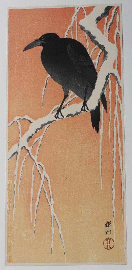 228: Japanese woodblock print by Shoson of a crow on a