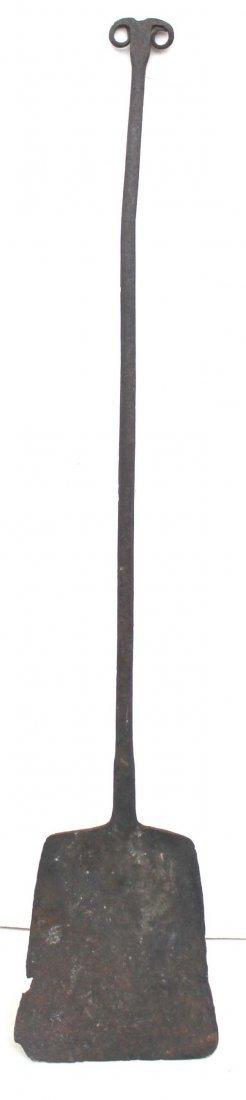 15: ca 1760 wonderful miniature forged iron peel w ram'