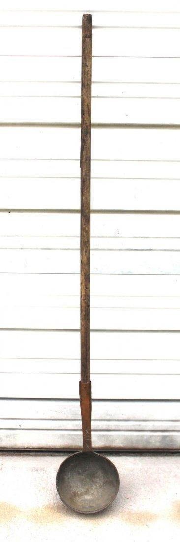 19: ca 1750 copper maple sugar dipper w orig wooden han