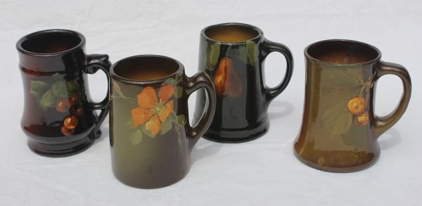 1: lot of 4 American Art Pottery mugs by Owens or Welle