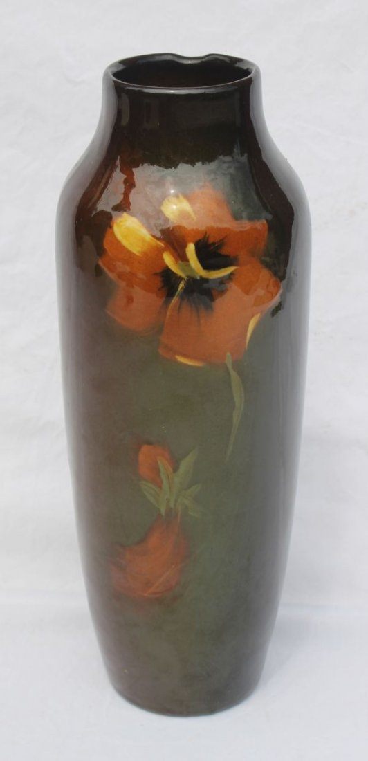 3: Weller or Owens American Art Pottery pansy dec vase