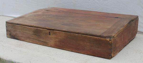 5: ca 1825 NH pine large school master's desk w 3 inter