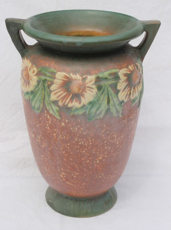 """6: unsgnd Roseville """"Dahlrose"""" 2 handled vase - 12"""" tal"""
