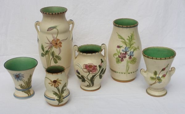 9: lot of 6 sgnd Weller Bonita American Art Pottery vas