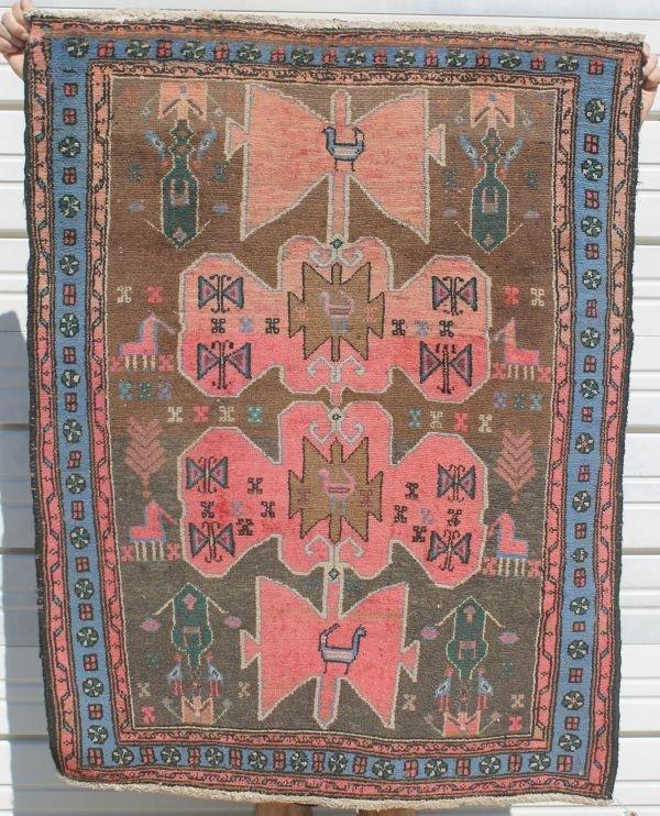 """13: 3'4""""x4'3"""" antique Oriental area rug"""