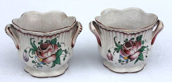 19: pr of late 19thC French Faience 2 handled cachepots