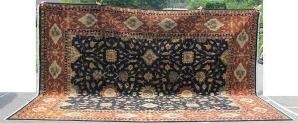 """21: Oversized 12'x15'2"""" Peshawar Sultanabad Oriental ru"""