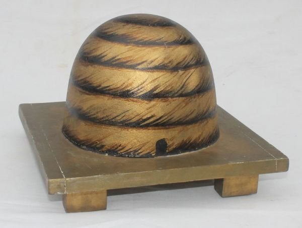 23: ca 1880's rare form orig painted Fraternal Bee Skep