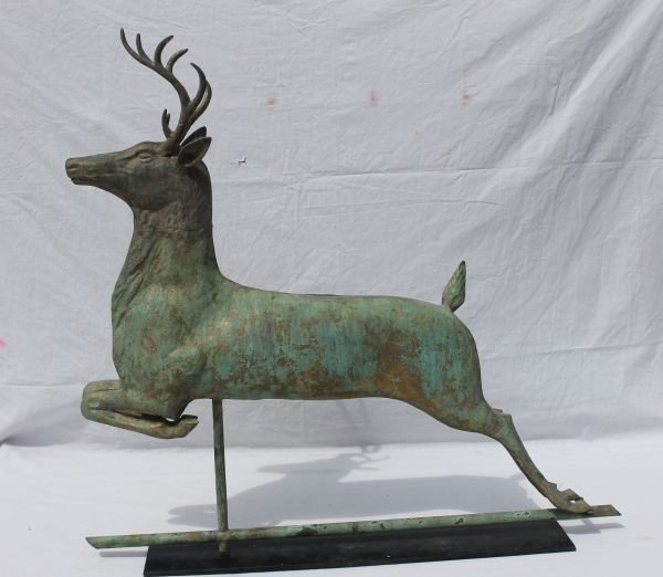 63: outstanding late 19thC copper leaping stag weatherv