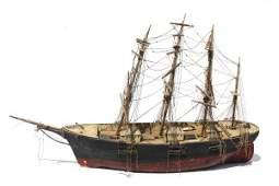 89: lg antique whaling ship model attrib to Capt. John