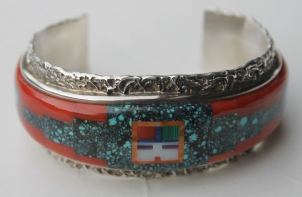 1A: Zuni silver bracelet inlaid with turquoise, coral,