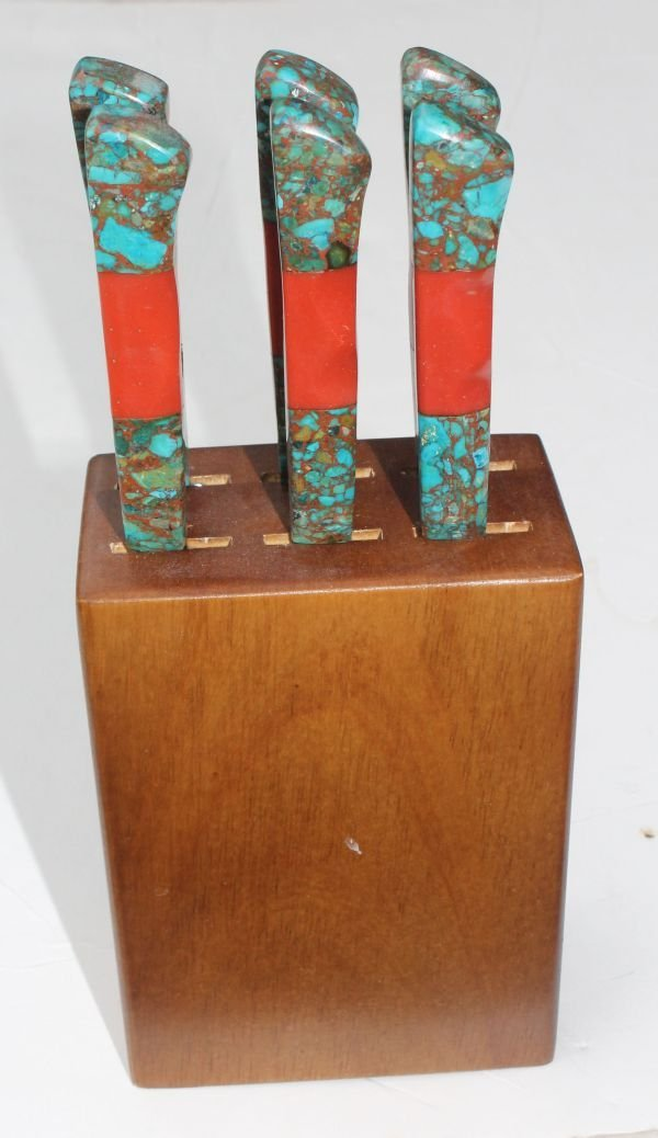 1S: set of 6 Southwest Native American turquoise & cora