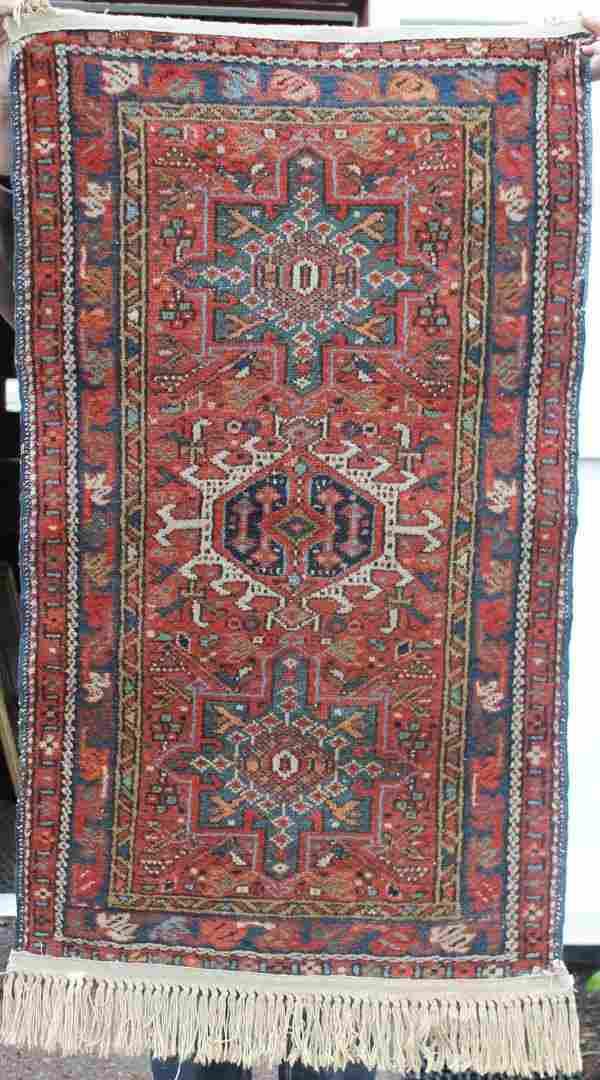 """62: 2'2""""x3'10"""" semi antique Karajeh Oriental area rug"""