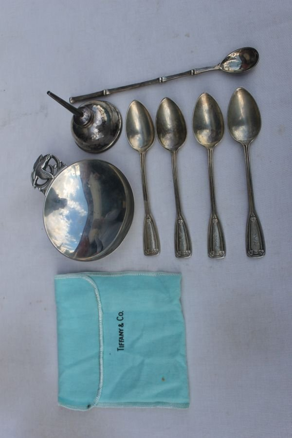 344: lot of Tiffany sterling silver incl 4 teaspoons, a