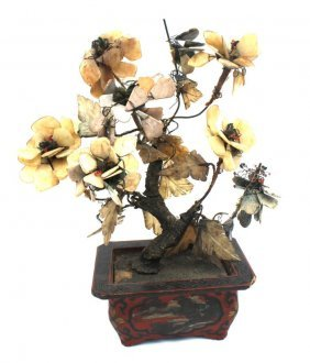 1: 3 antique Chinese jade tree plants in lacquered base