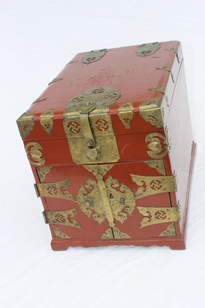 2: antique Chinese red lacquered box w brass trim,  lif