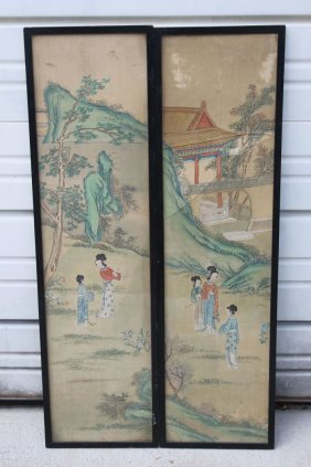 3: 2 antique Chinese paintings on silk - each is 32 1/4