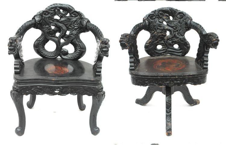 6: lot of 2 highly carved Chinese chairs - 1 a swivel d