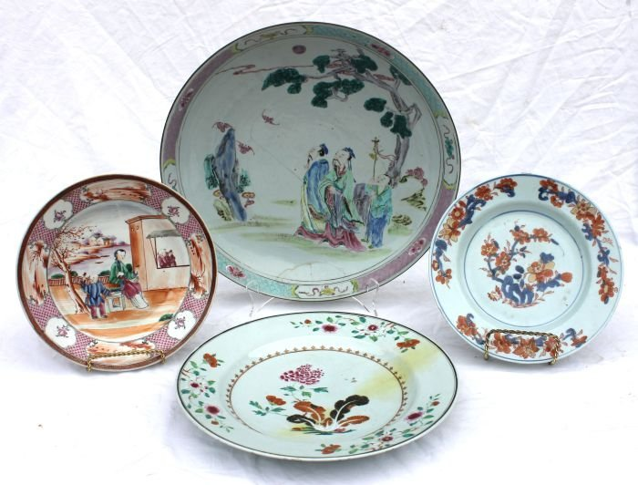 9: lot of 4 antique Chinese chargers &/or plates includ