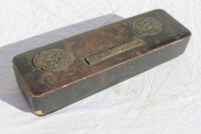 10: antique lacquered Chinese brush box w tsuba type de