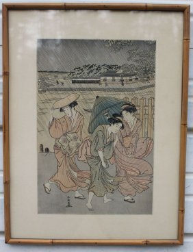 12: lot of 2 antique Japanese woodblock prints one a 15
