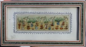 13: Middle Eastern multi figural painting on ivory in a