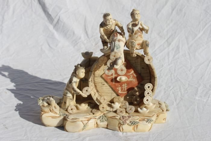 15: Chinese bone carved sculpture w figures & coins - 1