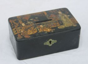 16: antique Japanese lacquered papier mache coin box or