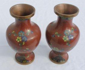 "17: nice pr of antique Cloisonne vases - 6 1/2"" tall"