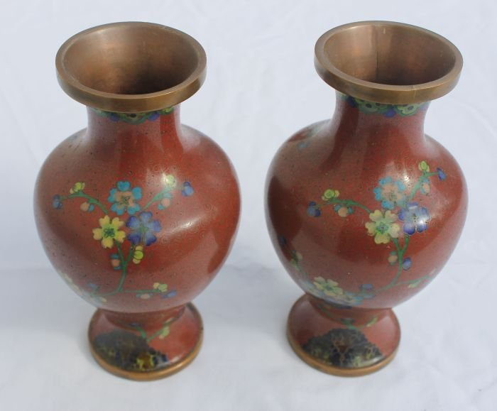 "17: nice pr of antique Cloisonne vases - 6 1/2"" tall"