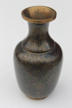 18: antique Chinese cloisonne vase w gold dec on black