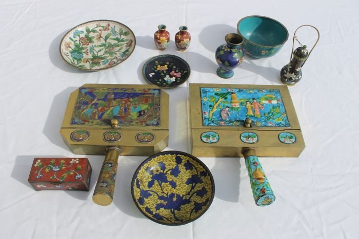 19: lot of antique Champleve & cloisonne incl 2 silent