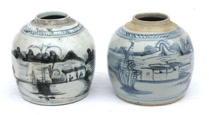 20: pr of antique Canton blue & white ginger jars - 6 1