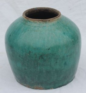 "21: antique green glaze pottery ginger jar - 9""x9"""