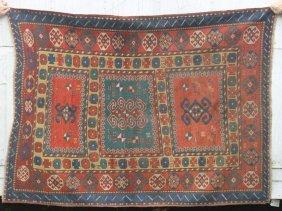 """26: Nice 5'x6'5"""" antique Caucasian Kazak Oriental rug"""