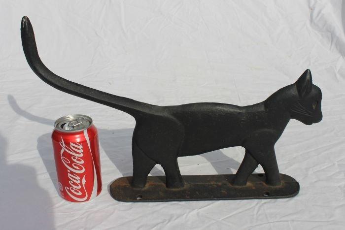 65: ca 1860's cast iron cat boot scraper in orig black  - 2