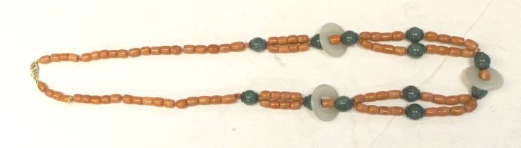 "2: Chinese coral and jade beads - 25"" long"