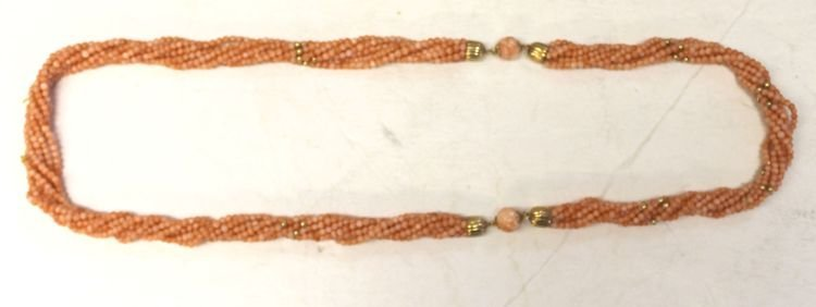 3: Multi strand of Chinese twisted coral beads w gold t