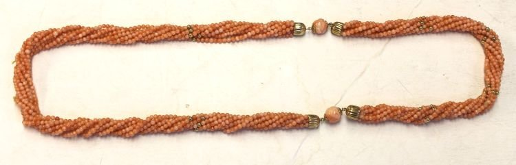 4: Multi strand of Chinese twisted coral beads w gold t