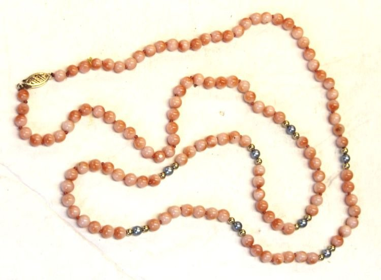 11: Chinese coral bead necklace w 14k gold bead & pearl