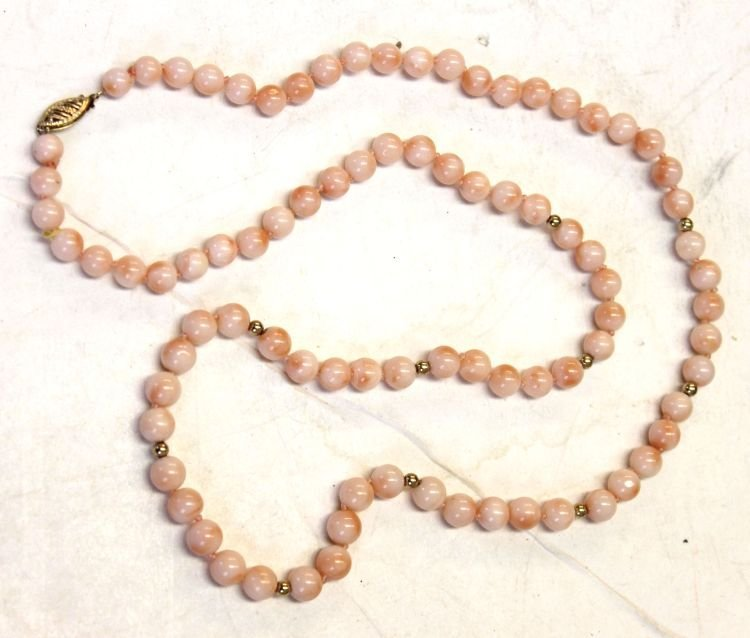 12: Chinese coral bead necklace w 14k gold bead accents