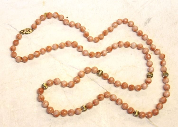 13: Chinese coral bead necklace w 14k gold bead accents
