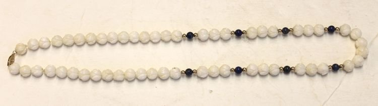 15: Chinese natural coral bead necklace w lapis & 14k g