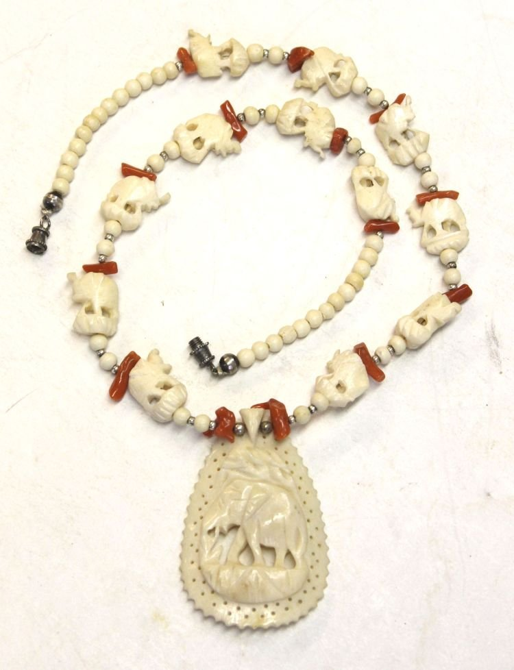 """18: Chinese ivory varbed elephant beads w 2"""" carved ivo"""