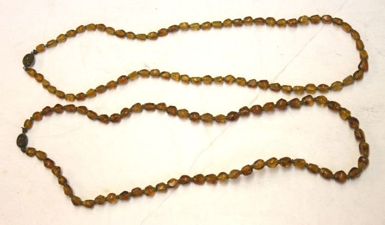 19: 2 strands of Chinese amber beads w silver clasp - 2