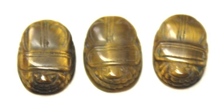 "22: 3 Chinese tiger eye scarabs - 3/8"" - 1/2"""