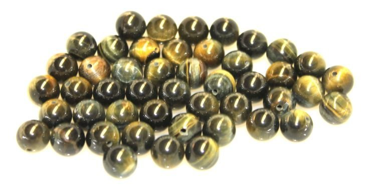 24: 45 Chinese tiger eye beads - 9 1/2mm